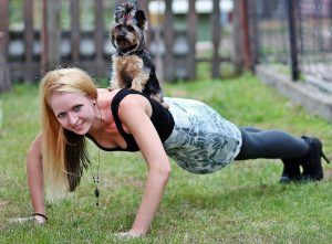 Bodyweight Exercise Pushup with Dog Added